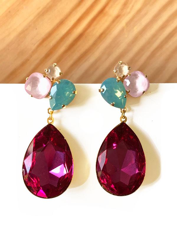 pendientes-audrey-fucsia-verde-agua-rosa-pastel-miss-fashionista-